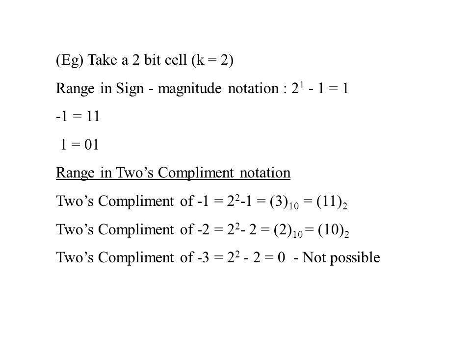 (Eg) Take a 2 bit cell (k = 2)