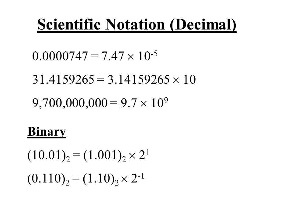 Scientific Notation (Decimal)