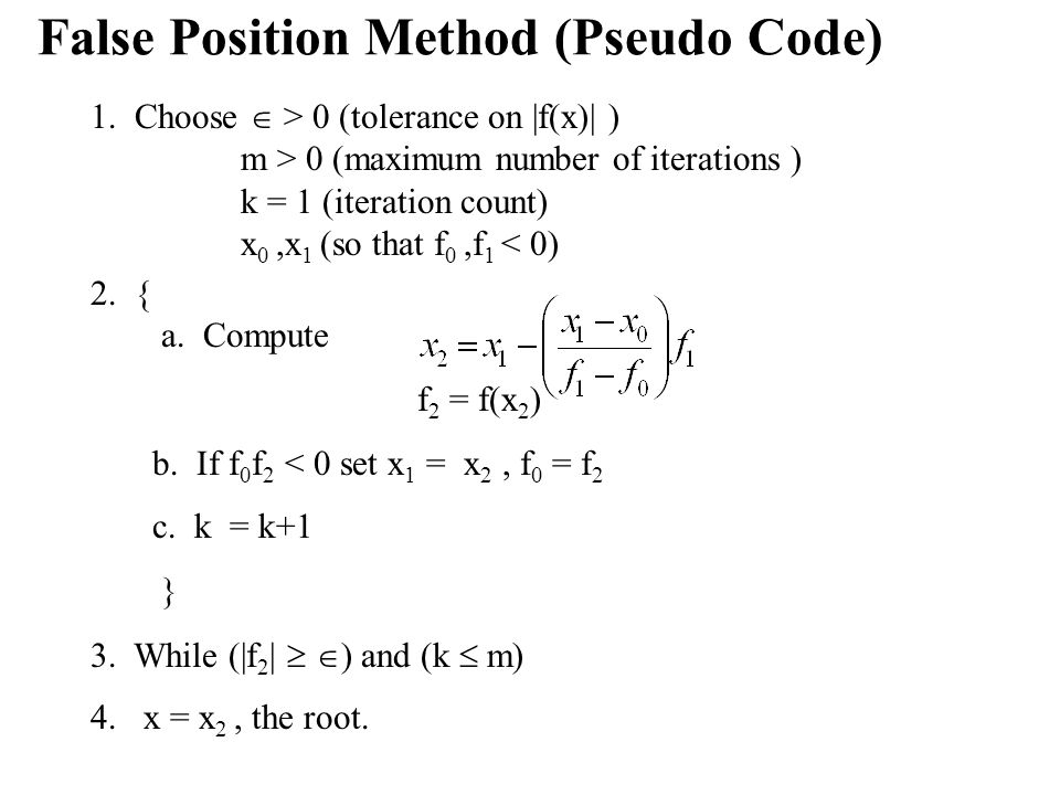 False Position Method (Pseudo Code)