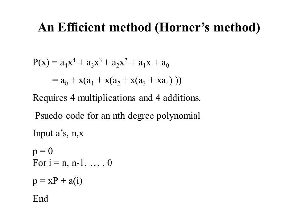 An Efficient method (Horner's method)