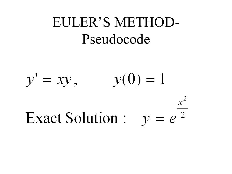 EULER'S METHOD-Pseudocode