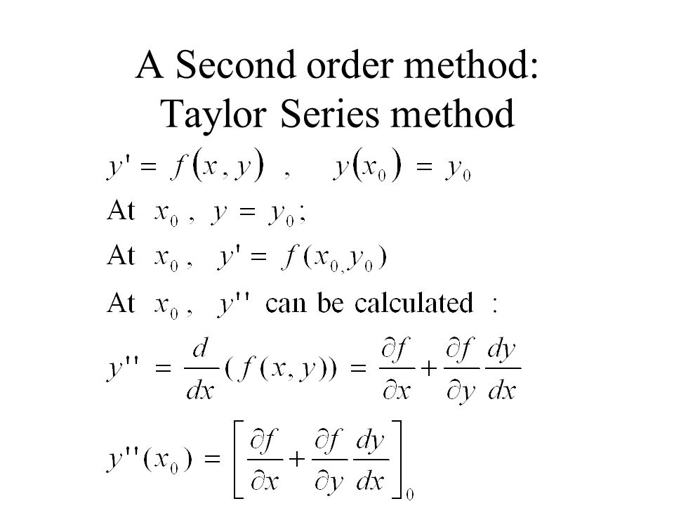 A Second order method: Taylor Series method