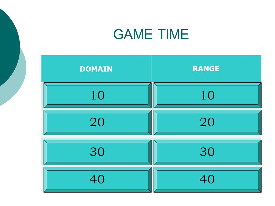 GAME TIME DOMAIN RANGE 10 10 20 20 30 30 40 40
