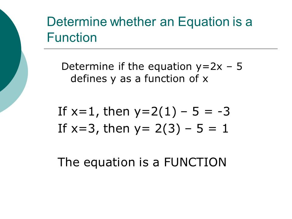 Determine whether an Equation is a Function