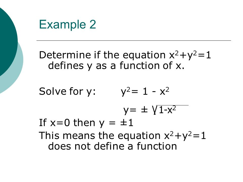 Example 2 Determine if the equation x2+y2=1 defines y as a function of x. Solve for y: y2= 1 - x2.