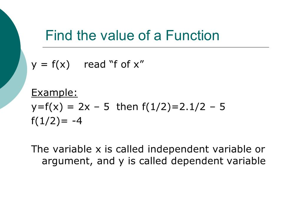 Find the value of a Function
