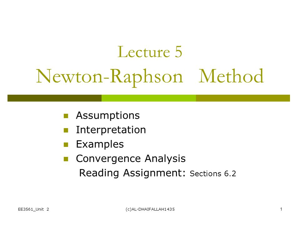 Lecture 5 Newton-Raphson Method
