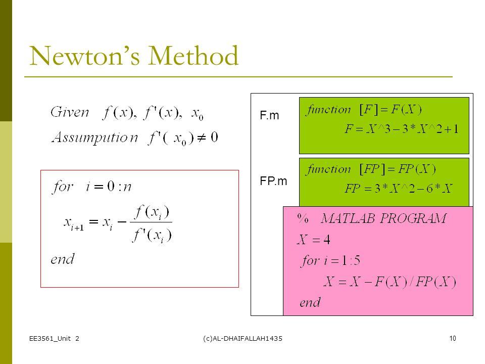 Newton's Method F.m FP.m EE3561_Unit 2 (c)AL-DHAIFALLAH1435