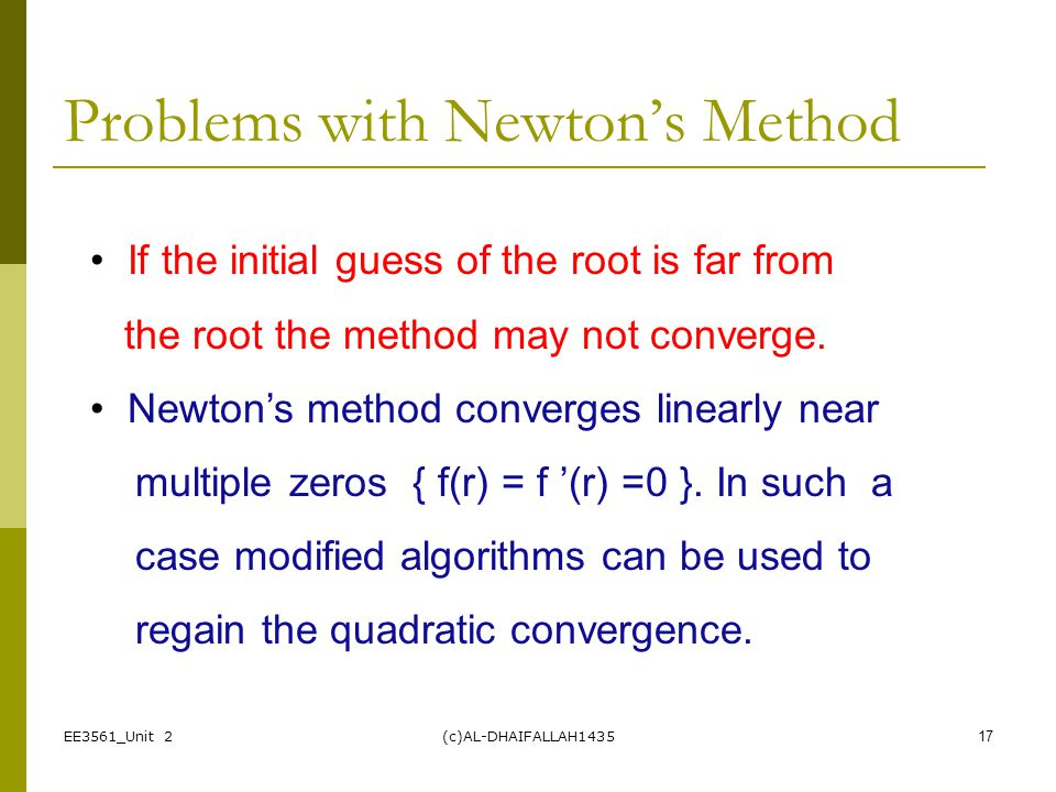 Problems with Newton's Method