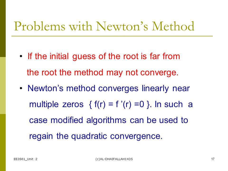 Problems with Newton's Method