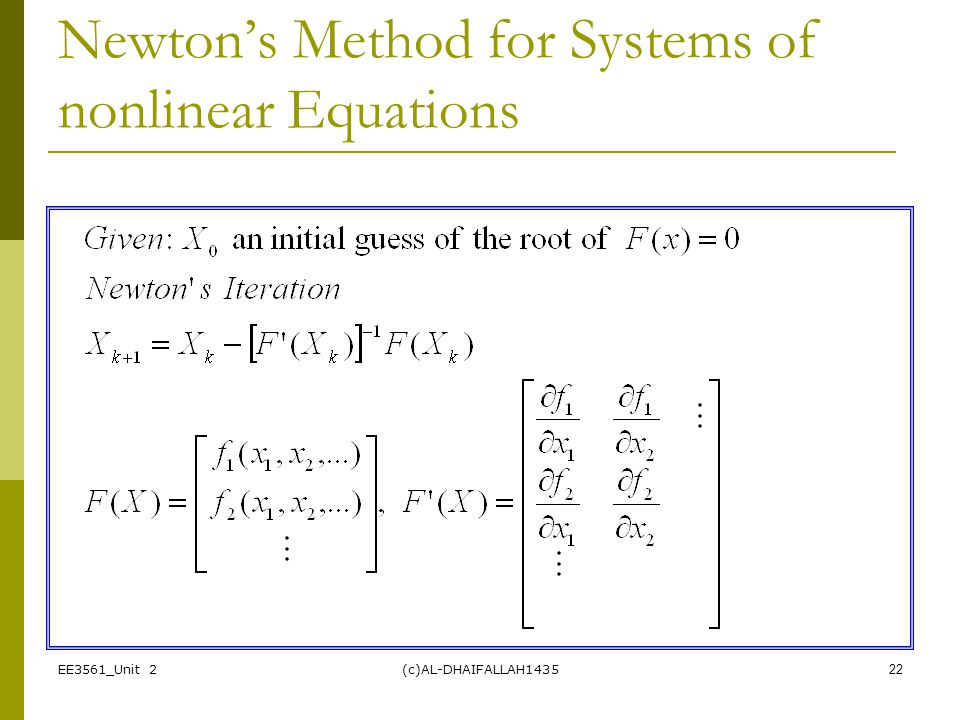 Newton's Method for Systems of nonlinear Equations