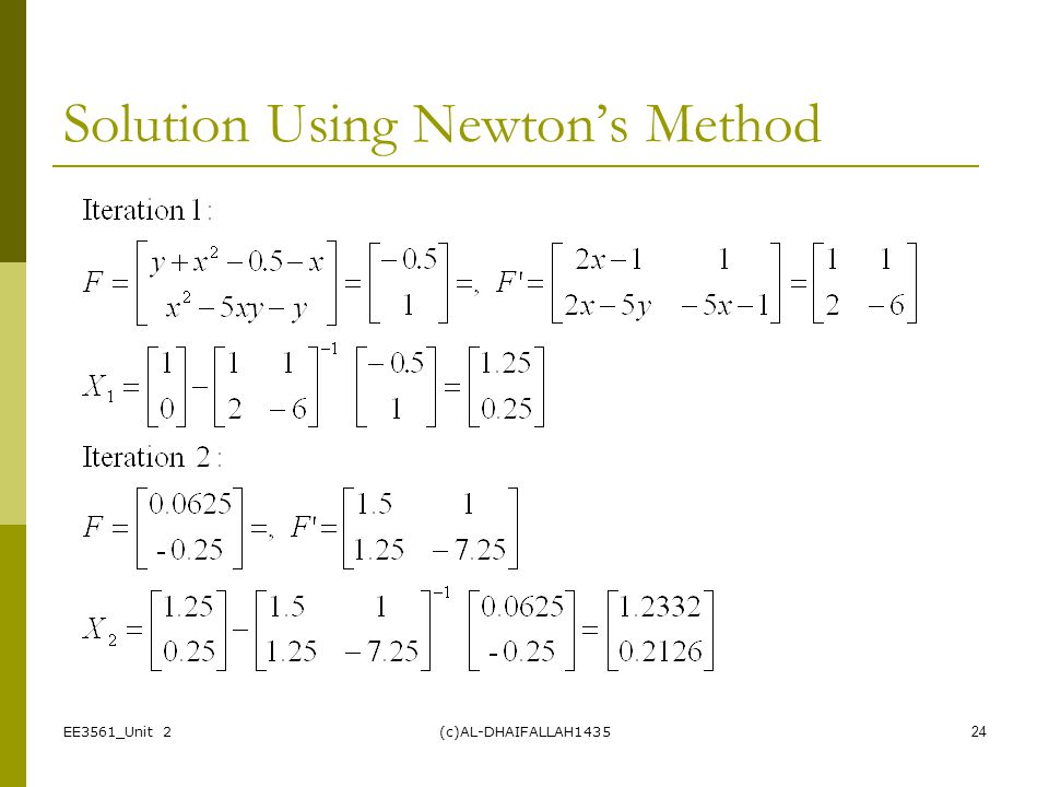 Solution Using Newton's Method