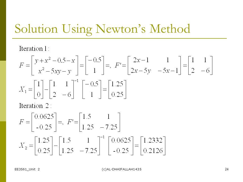 Solution Using Newton's Method