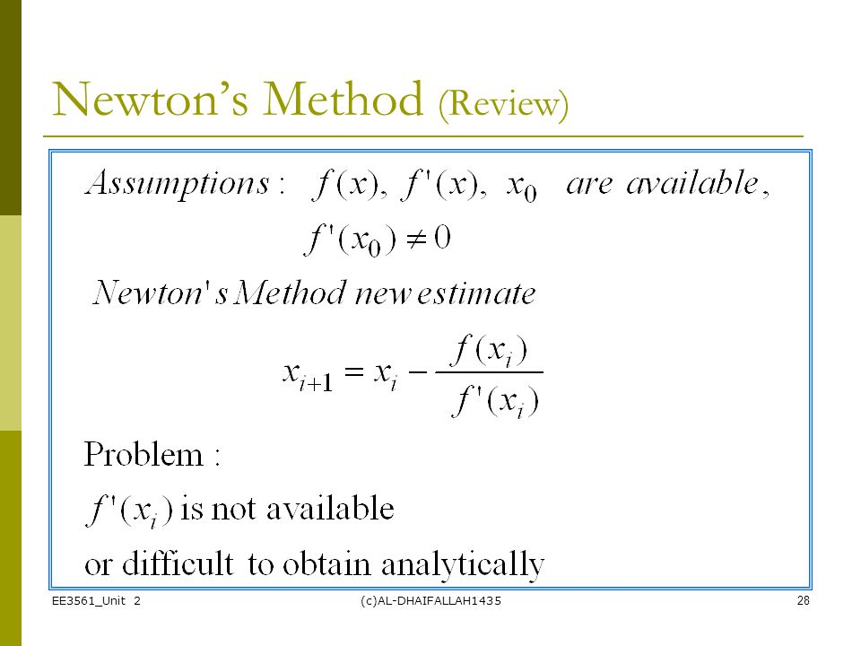 Newton's Method (Review)