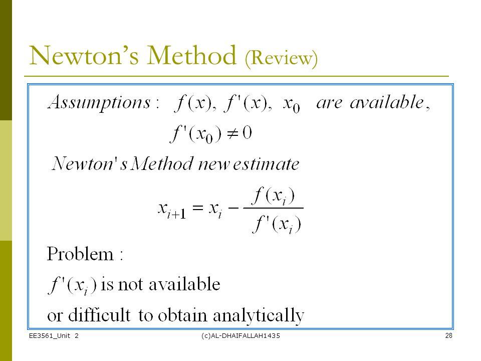 Newton's Method (Review)