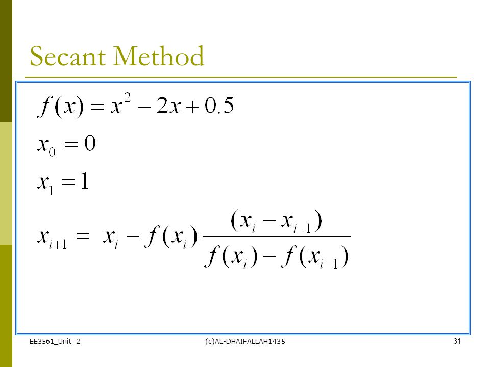 Secant Method EE3561_Unit 2 (c)AL-DHAIFALLAH1435