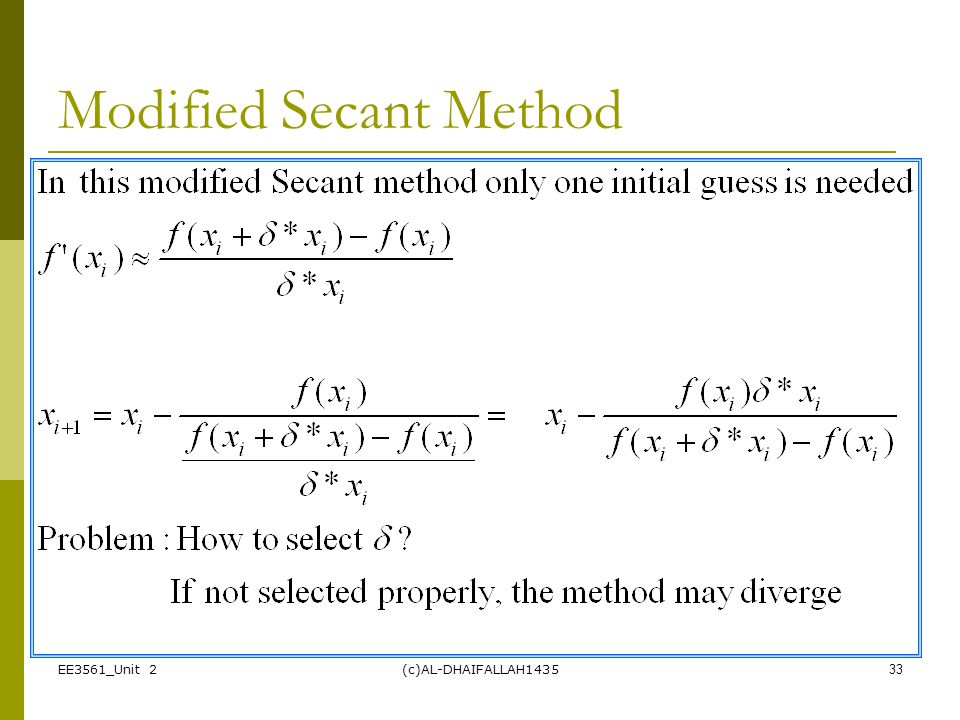 Modified Secant Method