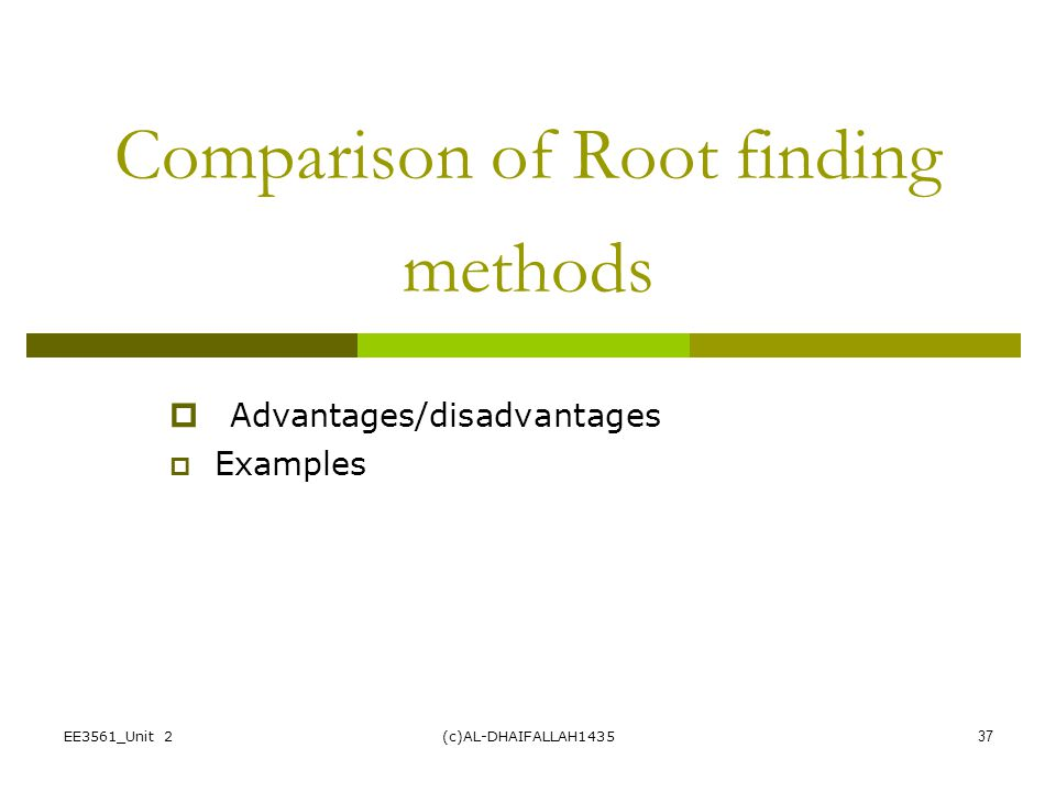 Comparison of Root finding methods
