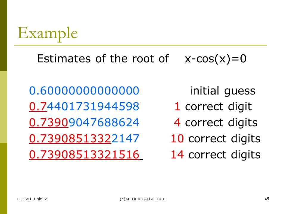 Example Estimates of the root of x-cos(x)=0