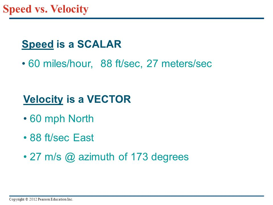 Speed vs. Velocity Speed is a SCALAR