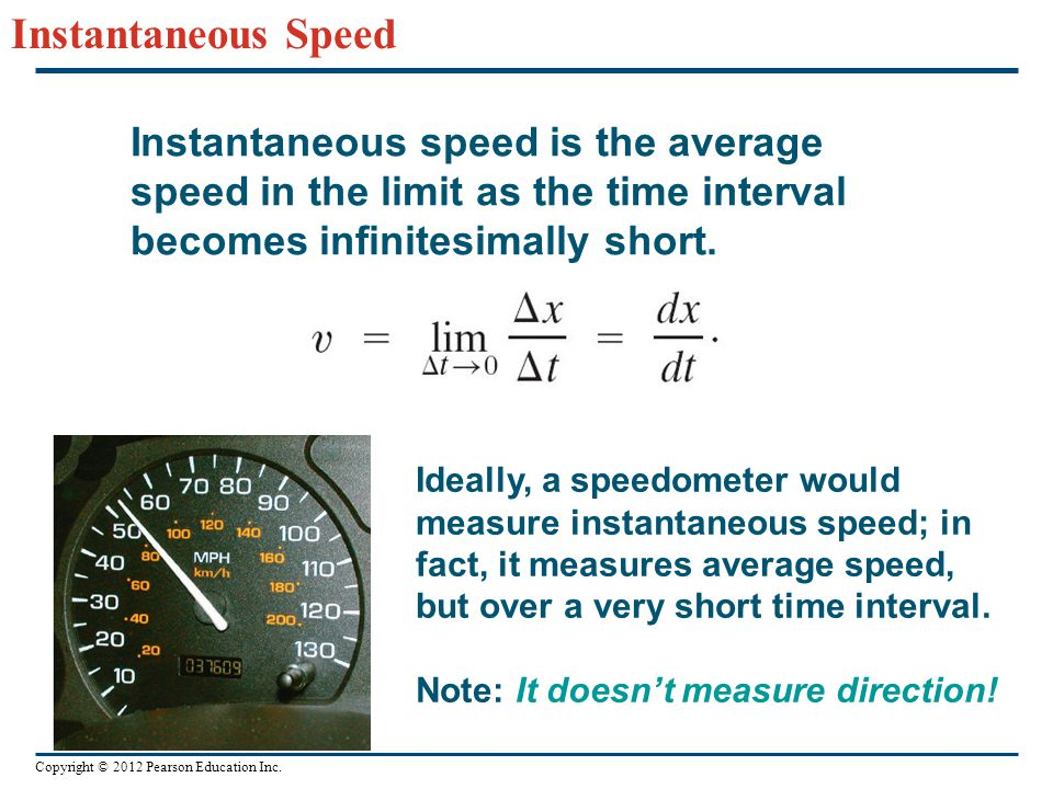 Instantaneous Speed Instantaneous speed is the average speed in the limit as the time interval becomes infinitesimally short.