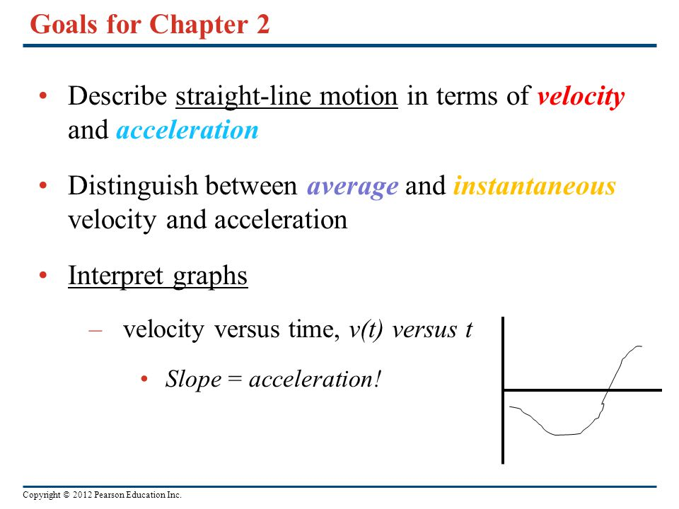 Describe straight-line motion in terms of velocity and acceleration