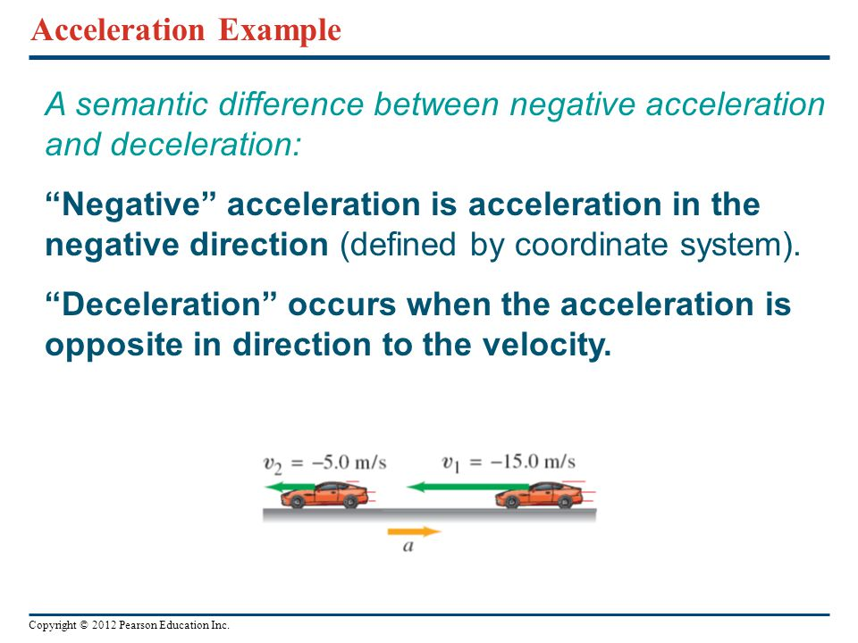 A semantic difference between negative acceleration and deceleration: