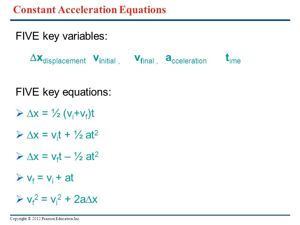 Constant Acceleration Equations