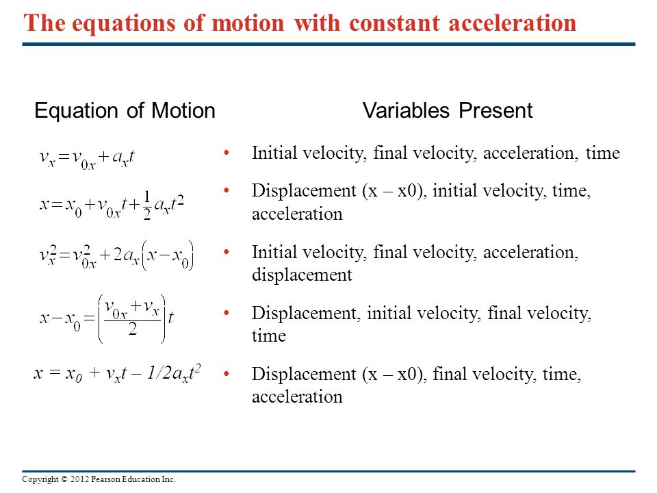The equations of motion with constant acceleration