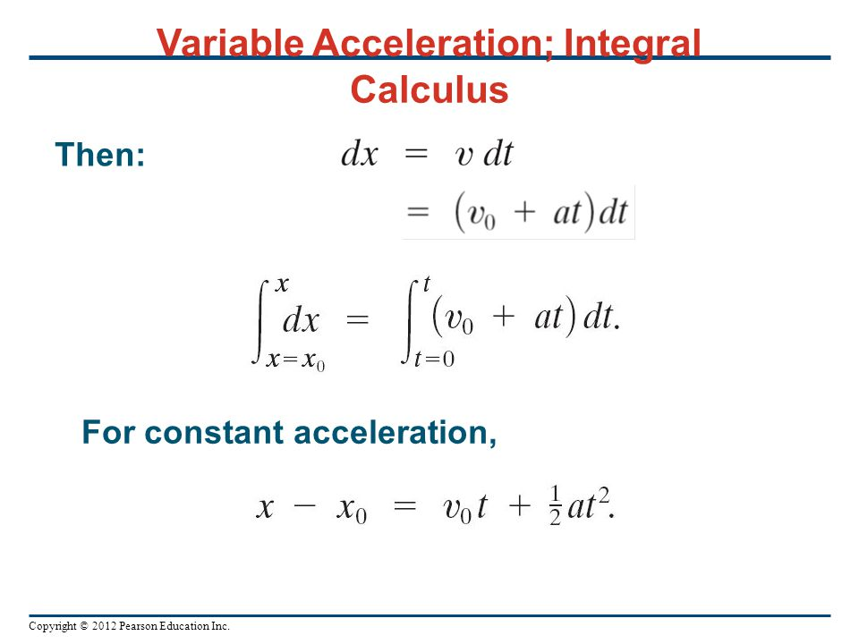 Variable Acceleration; Integral Calculus