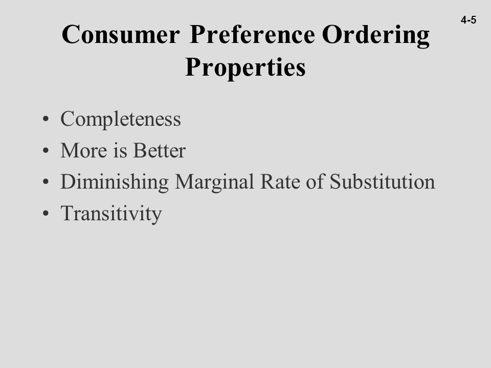 Consumer Preference Ordering Properties