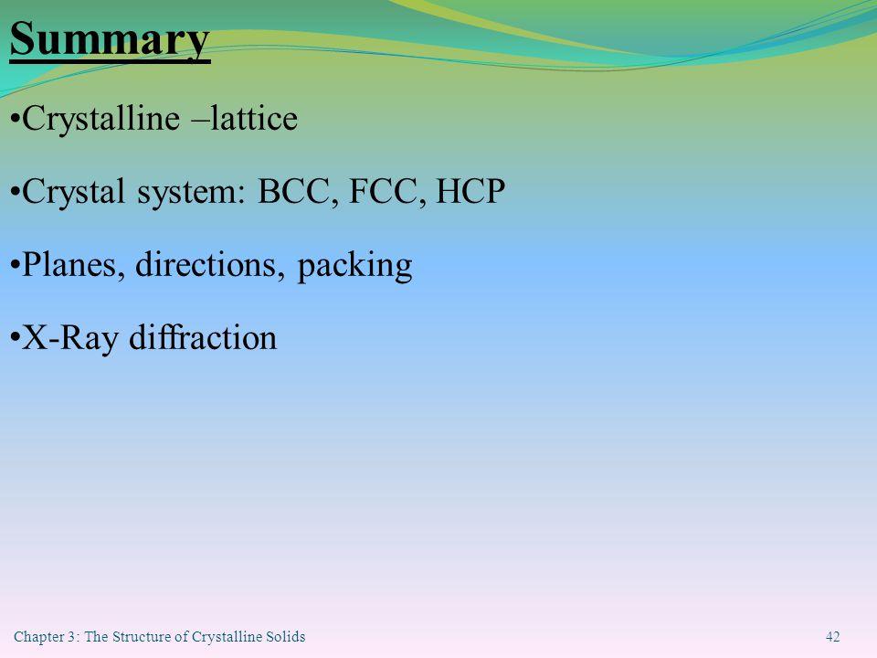 Summary Crystalline –lattice Crystal system: BCC, FCC, HCP