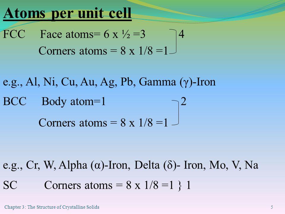Atoms per unit cell FCC Face atoms= 6 x ½ =3 4