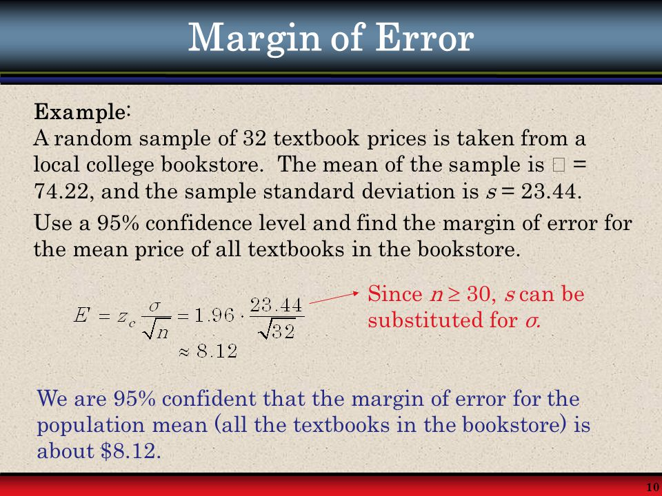 Margin of Error Example: