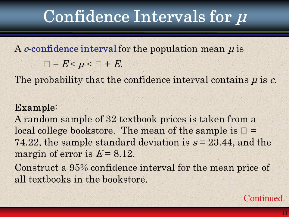 Confidence Intervals for μ