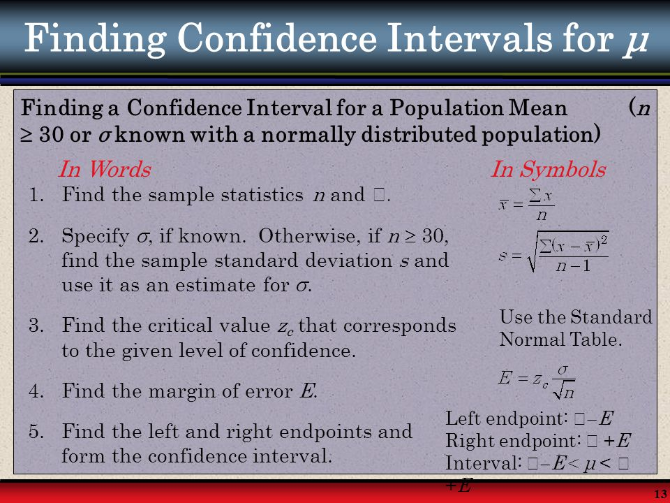 Finding Confidence Intervals for μ