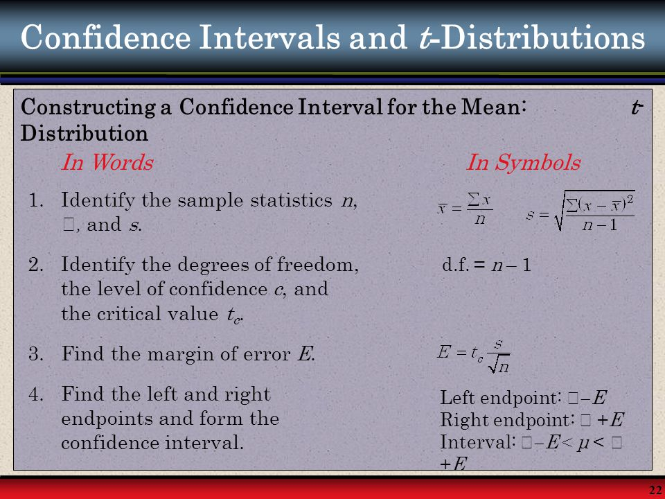 Confidence Intervals and t-Distributions