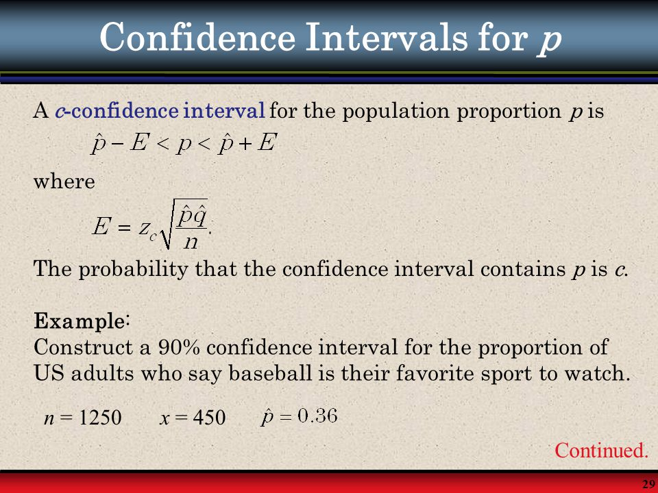 Confidence Intervals for p