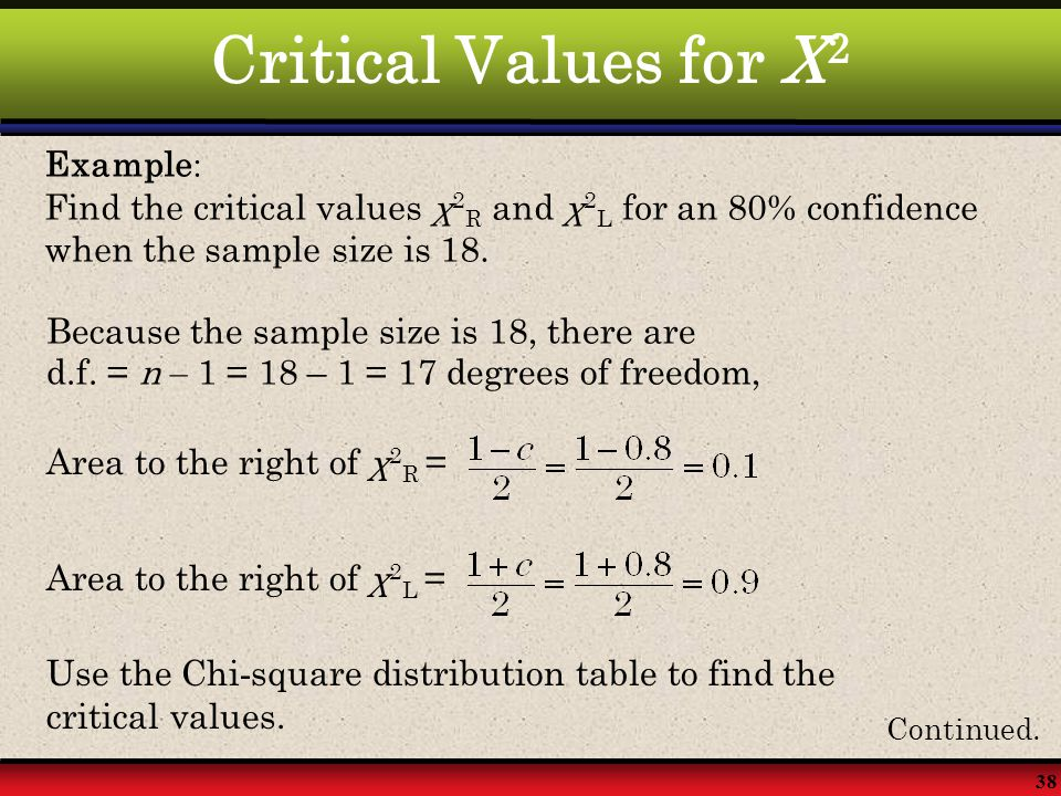 Critical Values for X2 Example: