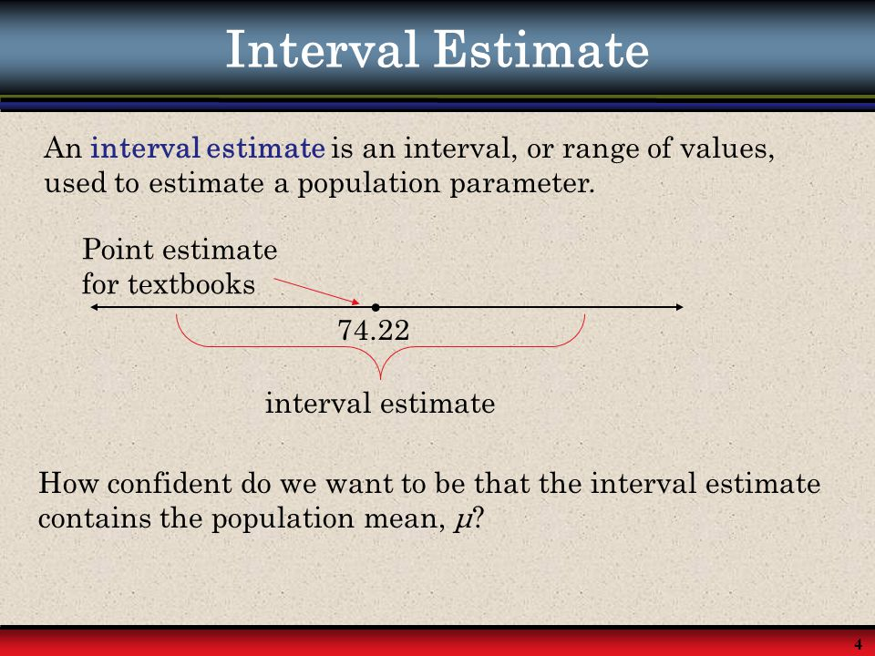Interval Estimate An interval estimate is an interval, or range of values, used to estimate a population parameter.