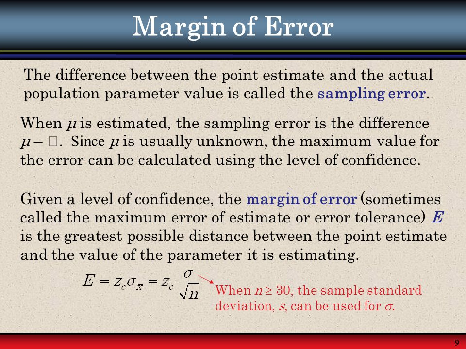 Margin of Error The difference between the point estimate and the actual population parameter value is called the sampling error.