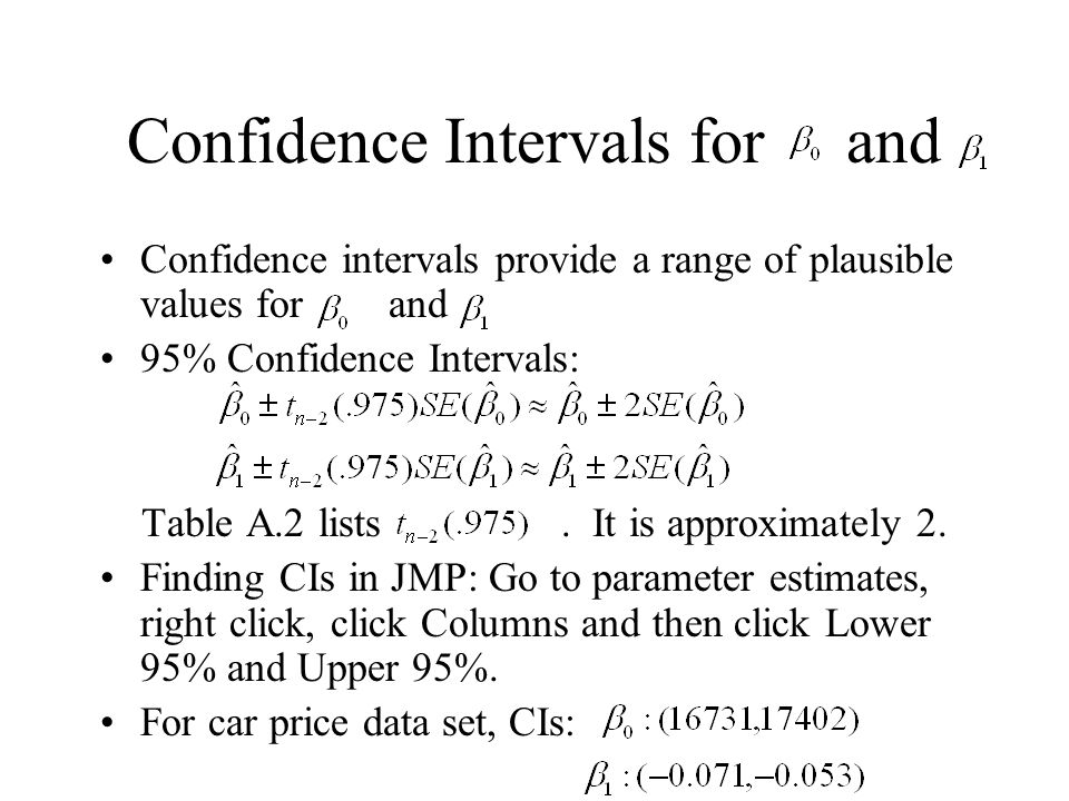 Confidence Intervals for and