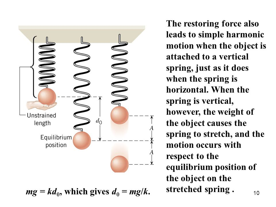 The restoring force also leads to simple harmonic motion when the object is attached to a vertical spring, just as it does when the spring is horizontal. When the spring is vertical, however, the weight of the object causes the spring to stretch, and the motion occurs with respect to the equilibrium position of the object on the stretched spring .
