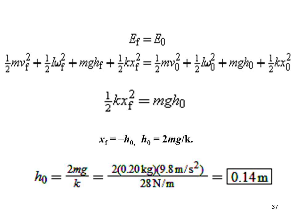 xf = –h0, h0 = 2mg/k.