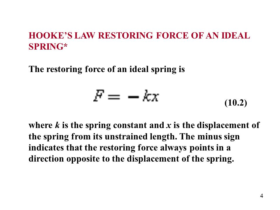 HOOKE'S LAW RESTORING FORCE OF AN IDEAL SPRING*