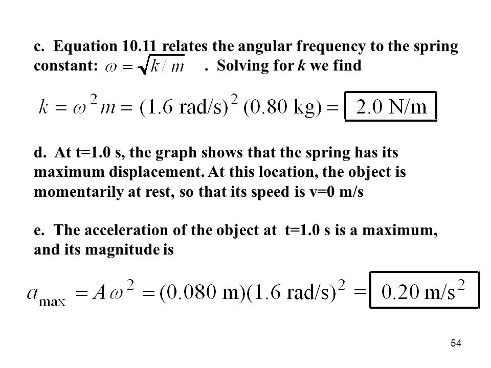 c. Equation 10.11 relates the angular frequency to the spring constant: . Solving for k we find