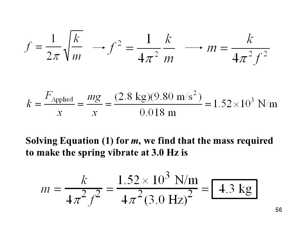 Solving Equation (1) for m, we find that the mass required to make the spring vibrate at 3.0 Hz is