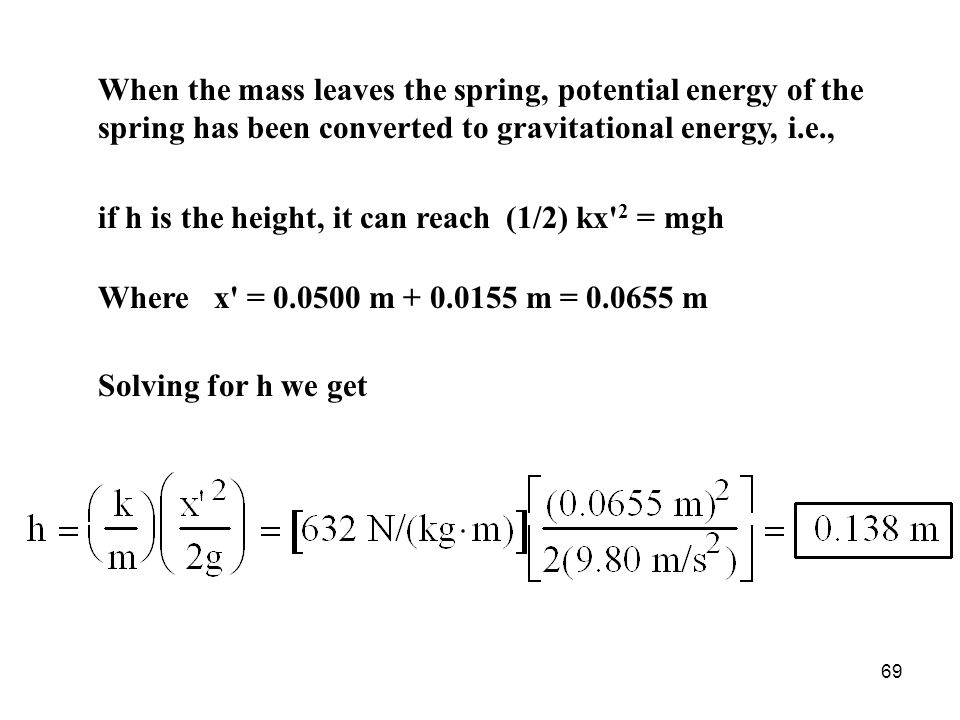 When the mass leaves the spring, potential energy of the spring has been converted to gravitational energy, i.e.,