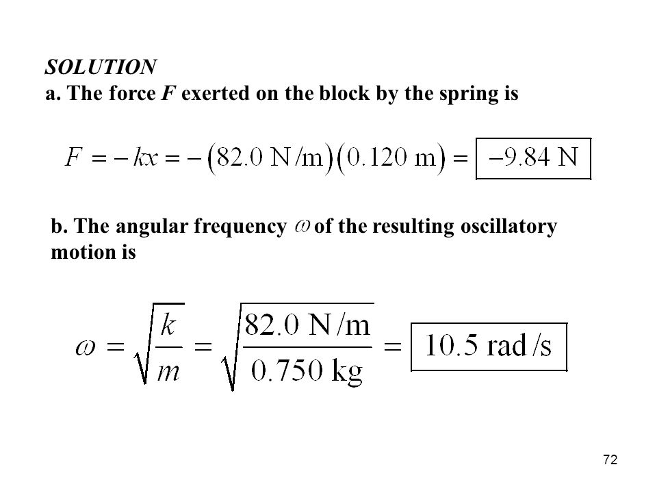 SOLUTION a. The force F exerted on the block by the spring is.