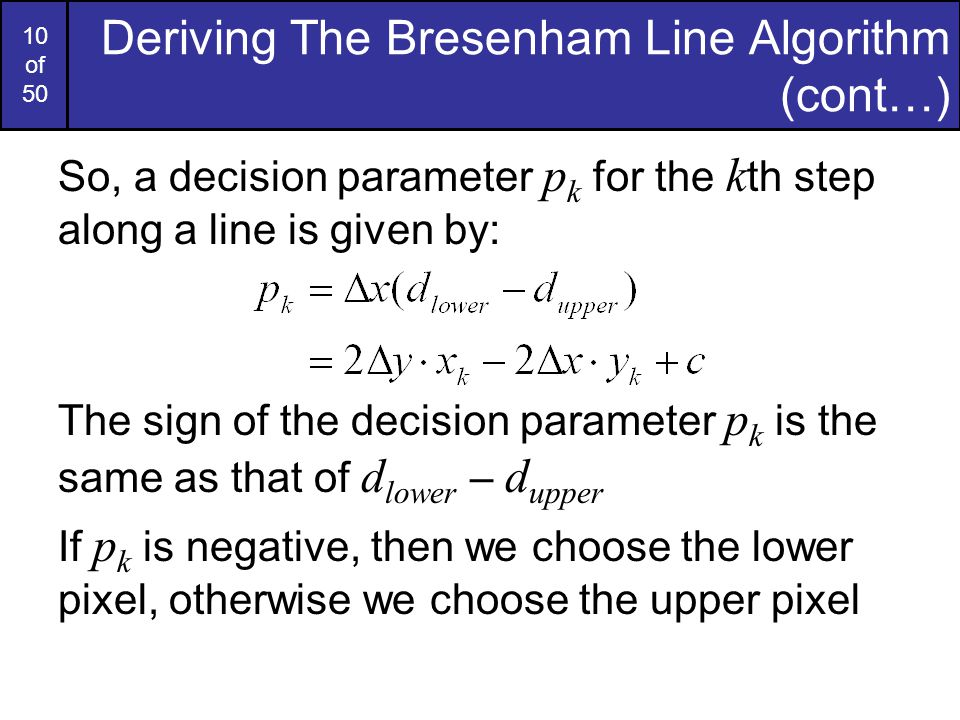 Bresenham Line Drawing Algorithm For M 1 : Computer graphics bresenham line drawing algorithm